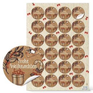 Frohe Weihnachten Sticker braun rot - rund 4 cm - verschönen Präsent Päckchen Dekoration