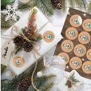 Schutzengel Aufkleber rund 4 cm braun hellblau - Engelaufkleber Weihnachtssticker