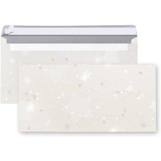 Briefumschläge weihnachtlich mit Sternen - Kuvert 11 x 22 cm Weihnachten weiß silber
