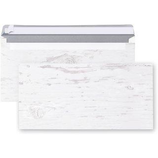 Briefumschläge in Holzoptik weiß grau - Kuvert DIN lang 22 x 11 cm