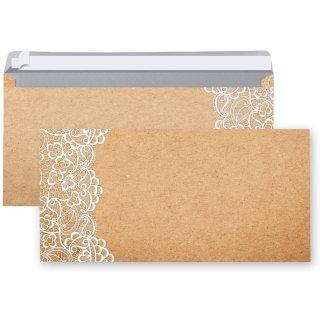 Briefumschläge DIN lang 22 x 11 cm in Kraftpapier-Optik bedruckt mit Spitze - braun weiße Kuverts
