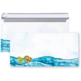 Briefumschläge blau türkis bunt mit Regenbogenfisch 22 x 11 cm - Briefkuverts für Briefe & Einladungen