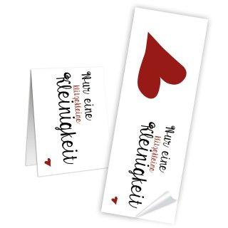 Längliche Aufkleber Nur eine klitzekleine Kleinigkeit weiß rotes Herz - 5 x 14,8 cm - Gastgeschenke Banderolen