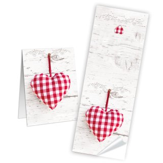 Aufkleber lang - 5 x 14,8 cm - Holzoptik weiß rot kariertes Herz Hochzeit Geburtstag Banderolen