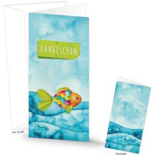 Dankeskarte blau türkis bunt mit Regenbogenfisch - Grußkarte DANKE mit Kuvert - Taufe Kommunion