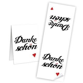 Geschenkaufkleber lang - 7,2 x 21 cm - Text Dankeschön weiß schwarz Tischdekoration Banderolen