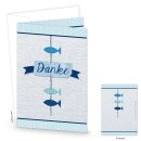 Dankeskarte blau mit Fischen - maritime Grußkarte...