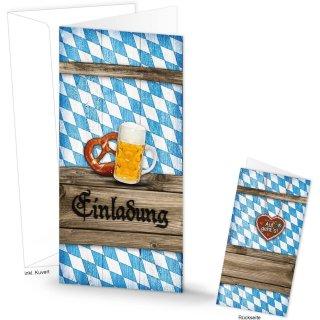Einladungskarte im bayerischen Stil blau weiß Rautenmuster EINLADUNG 21 x 10,5 cm Bayern Oktoberfest Deko