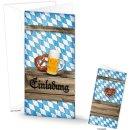 Einladungskarte im bayerischen Stil blau weiß...
