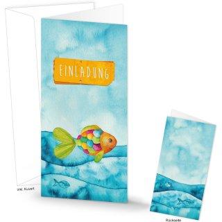 Bunte Einladungskarten türkis orange mit Regenbogenfisch - Karte EINLADUNG 10,5 x 21 cm mit Kuvert