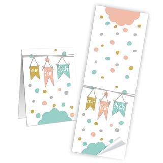 Eckige Aufkleber Nur für dich - 5 x 14,8 cm - weiß pastell Geschenktüten basteln Kartengestaltung