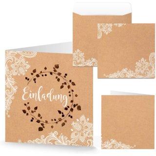 Einladungskarten + Kuverts quadratisch Kraftpapier braun Spitze Boho Vintage Einladung Karte Hochzeit
