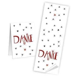 Dankesaufkleber länglich - 5 x 14,8 cm - weiß rot mit schwarzen Herzen Scrapbooking Mitbringsel Give-Away