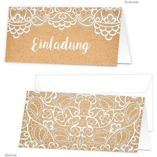 Einladungskarten mit Kuvert Kraftpapier-Optik bedruckt mit weißer Spitze DIN lang mit Text EINLADUNG