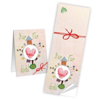 Nur für dich Aufkleber eckig - 5 x 14,8 cm - beige rosa Herz Verzieren Verpackung Verschönen Kartenverzierung
