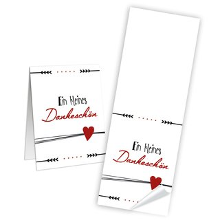 Ein kleines Dankeschön Geschenk Aufkleber lang - 5 x 14,8 cm - weiß schwarz rotes Herz verschönen