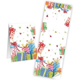 Längliche Aufkleber - 7,2 x 21 cm - weiß bunt Banderolen Gastpräsent Geschenktüten Verpackung