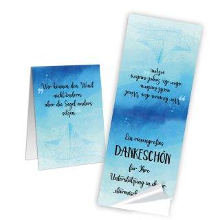 Ein riesengroßes Dankeschön Aufkleber lang - 5 x 14,8 cm - blau schwarz maritim Bedanken Verzierung