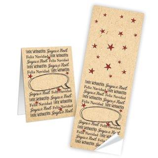 Lange Aufkleber Frohe Weihnachten - 5 x 14,8 cm - rot beige natur Etiketten Geschenkaufkleber Papiertüten