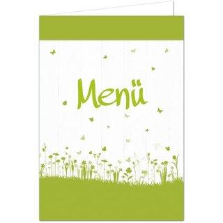 Menükarten grün weiß mit Blümchen Schmetterling DIN A5 Speisekarten beschreibbar & bedruckbar