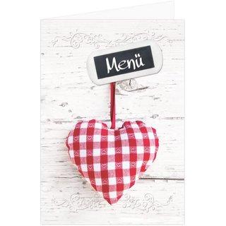 Menükarten leer zum Bedrucken & Beschriften DIN A5 mit rot kariertem Herz - rustikal bayerisch