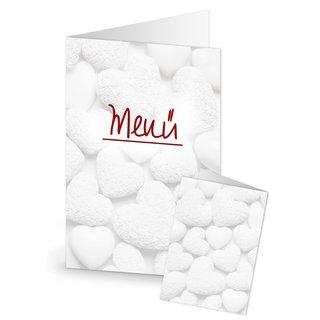 Menükarten mit weißen Herzen MENÜ Speisekarten DIN A5 weiß rot zum Bedrucken