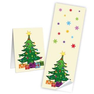 Weihnachten Aufkleber eckig - 5 x 14,8 cm - bunt grün beige Weihnachtsbaum Sterne Papiertüten