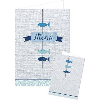 Menükarten blau weiß maritim mit Fischen - Speisekarte leer für Restaurant Taufe Kommunion