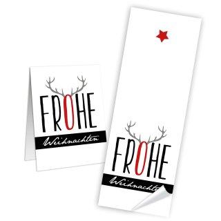 Aufkleber länglich Frohe Weihnachten - 5 x 14,8 cm - weiß rot schwarz selbstklebend groß Pakete