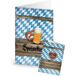Bayerische Speisekarten blau weiß Rautenmuster DIN A5 - Wirtshaus Restaurant Bayern