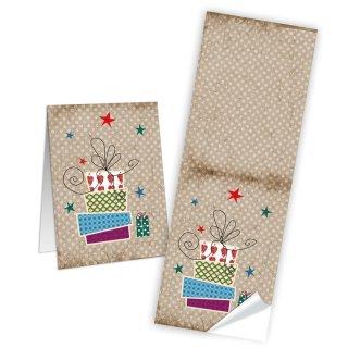 Aufkleber Weihnachten lang - 5 x 14,8 cm - bunt beige gepunktet Geschenktüten festlich Nikolaus retro