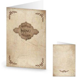 Menükarten im Vintage-Stil beige braun zum Beschriften & Bedrucken DIN A5