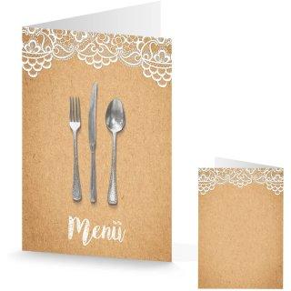 Menükarten in Kraftpapieroptik braun weiß DIN A5 - Speisekarte Hochzeit Taufe Kommunion
