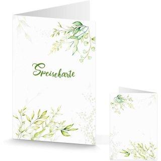 Leere Speisekarte grün weiß mit Blätterranken - bedruckbar - Gastronomie Hochzeit Taufe