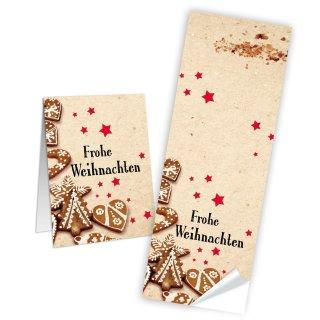 Lange Aufkleber Frohe Weihnachten - 5 x 14,8 cm - beige Lebkuchen Sterne selbstklebend Weihnachtsverpackung