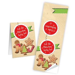 Auf die Plätzchen fertig los längliche Weihnachtsaufkleber - 5 x 14,8 cm - beige bunt Lebkuchenmann zukleben Plätzchen