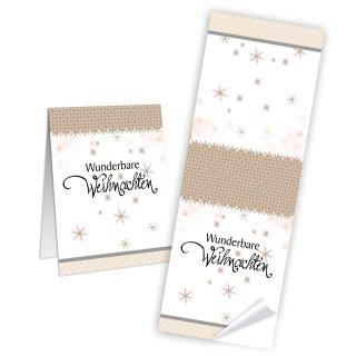 Wunderbare Weihnachten Geschenkaufkleber eckig - 5 x 14,8 cm - lang weiß beige gold Sterne Weihnachtsverpackung