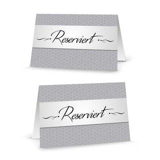 Reserviert Schilder grau weiß edel - Tischkarten für Tischreservierung zum Hinstellen