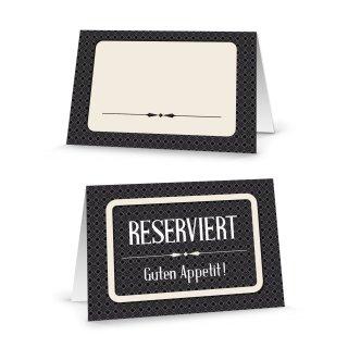 Reserviertschilder zum Beschriften Klappkarten schwarz creme - Tischreservierung