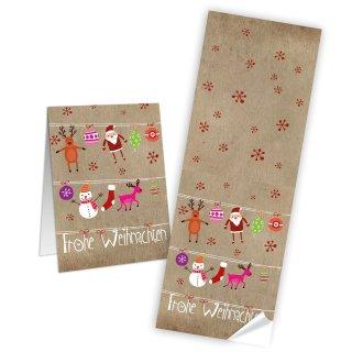 Aufkleber länglich - 7,2 x 21 cm - braun rot bunt Frohe Weihnachten Papieraufkleber Schneemann Nikolaus