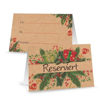 Reserviert Schilder braun rot grün weihnachtlich - Reservierung Tischkarte Weihnachten Weihnachtsfeier