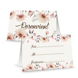 Reserviert Schilder Blumen rosa beige floral - Tischreservierung Restaurant Hotel Tischkarte Gastronomie