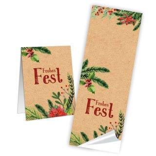 Frohes Fest Aufkleber - 5 x 14,8 cm länglich - natur grün Tannenzweige Weihnachtsstern Präsente