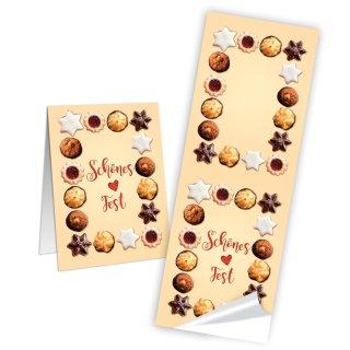 Weihnachtsaufkleber groß natur braun - 5 x 14,8 cm - Kekse Plätzchentüten Lebkuchen verpacken