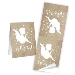 Frohes Fest Weihnachten Aufkleber groß - 5 x 14,8 cm - gold weiß Schutzengel verschönern
