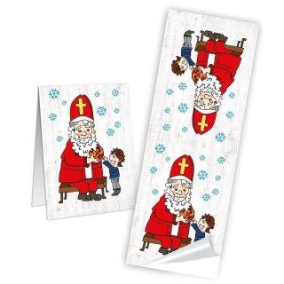 Weihnachtsmann Aufkleber lang - 5 x 14,8 cm - bunt rot Schneeflocken Weihnachten Geschenke Nikolaus