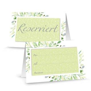 Reserviertschilder grün weiß floral - Tischreservierung reserviert Schilder Gastronomie Restaurant Hotel