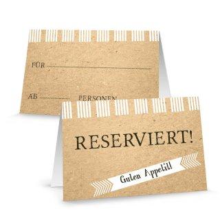 Reserviertschilder zum Beschriften beige Kraftpapieroptik - Reserviert Schilder Gastronomie Restaurant