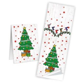 Weihnachtliche Aufkleber - 5 x 14,8 cm - länglich grau rot grün Weihnachtsbaum Christbaum Tanne Verpackungstüten
