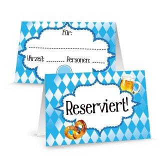 Reserviert Schilder Gastronomie bayerisch blau weiß Rautenmuster - Tischaufsteller Biergarten Restaurant